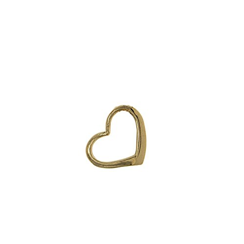 14k Yellow Gold Hearts Charm Slide Pendant, Mini Floating Heart (Yellow Slide 14k Gold)