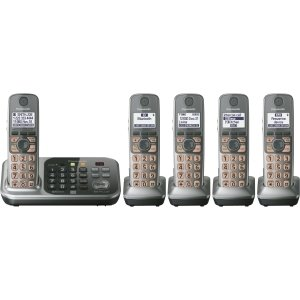 (Panasonic KX-TG7745S DECT 6.0 1.90 GHz Cordless Phone - Cordless - 1 x Phone Line - 4 x Handset - Speakerphone - Answering Machine - Caller ID - Backlight - KX-TG7745S)