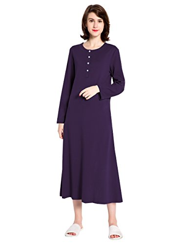 Cotton Knit Long Sleeve Nightgown for Women, Henley Full Length Sleep Dress, Purple L (Tee Jersey Cotton Knit)