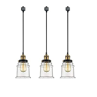 IVEN H-Type 3 Wire Miniature Pendant Track Lighting Fixture Restaurant Chandelier Decorative Chandelier Instant Pendant Industrial Factory Glass Pendant Lamp,Bulb Include,One Light