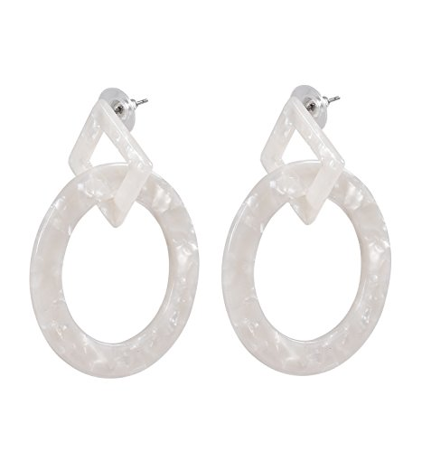 ELEARD Acrylic Hoop Drop Earrings Statement Geometric Cut Out Resin Circle Square Link Dangle Earrings (Beige) ()