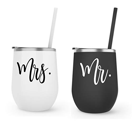 Mr Mrs Wine Tumbler Gift Set Stainless Steel Bride Tumbler Gift, Wine Goblet, Wife, Engagement, Bachelorette, Bride To Be, Newly Engaged, Bridal Shower, Mother Gift ()