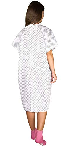 12 Pack - White Hospital Gown with Back Tie/Hospital Patient Robes with Ties - One Size Fits All - Wholesale