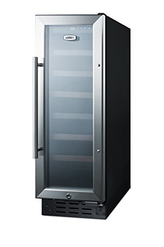 """Summit SWC1224 12"""" Built-In Undercounter Glass Door Wine Cellar with Lock and Digital Controls, Glass/Black"""