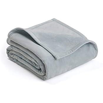 PLUSH BLANKET BY VELLUX - Full/Queen, Heavyweight, Micromink, Warmest, Bedspread, Pet-Friendly, Bed, Bedspread, Winter - Gray Mist