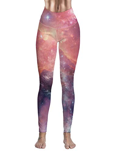 Womens High Waisted Leggings Yoga Workout Pants Starry Sky Cosmic Galaxy