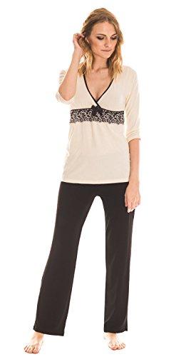 Donna - Pijama de dormir de viscosa, con espectacular bordado bajo el pecho en estupenda caja de regalo crema/negro