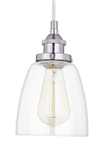 Light Society Camberly Mini Pendant Light, Clear Glass Shade with Satin Nickel Finish, Modern Industrial Lighting Fixture (LS-C109-SN) ()