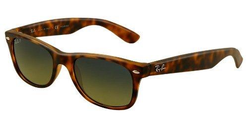 Ray-Ban RB2132 New Wayfarer Polarized Sunglasses, Matte Havana/Polarized Green Gradient, 52 mm (Ray-ban New Wayfarer Amazon)