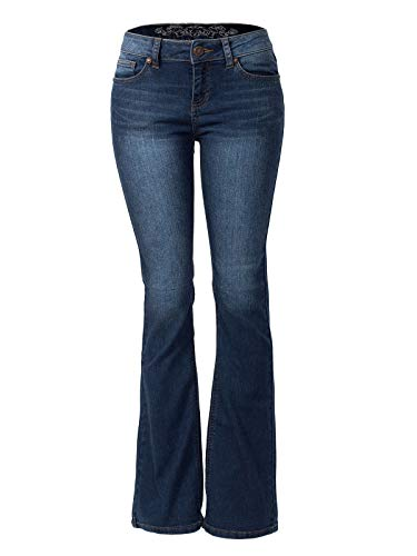 Flared Jeans Cut Pants - Instar Mode Women's Sexy Stylish Flare Bell Bottom Slim Bootcut Jean Dark Denim 9