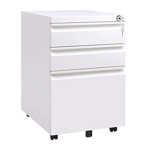 - DEVAISE Locking File Cabinet, 3 Drawer Rolling Metal Filing Cabinet, Fully Assembled Except Wheels, White