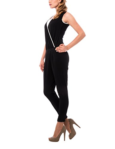 Les Sophistiquees Damen Kleid Jumpsuite Bicolor Schwarz x941L