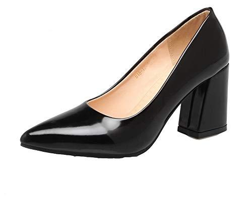 Delle Donne Alto Pompe punta on Verniciata Chiuso Pelle Pull tacco Amoonyfashion Busdt004392 scarpe Nero 5EwZznxq