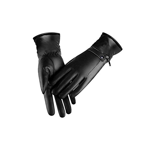 Labyrinen Electric Heated Gloves, Thermal Gloves Rechargeable Touch Screen Waterproof Winter Gloves for Motorcycle Electric Car, Premium Leather for Women and Men