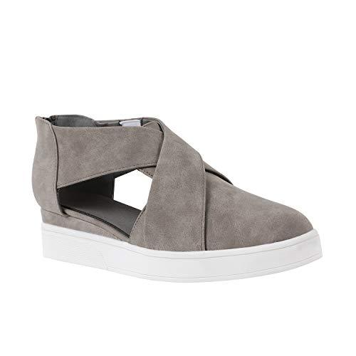 (Womens Cutout Platform Sneakers Wedge Mid Heel Cross Strap Zip Up Pump Booties)