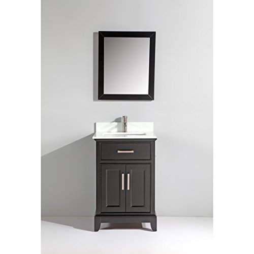 Vanity Art 24-Inch Single Sink Bathroom Vanity Set with White Phoenix Stone Top, Drain and Mirror - Espresso - Phoenix Stone Set