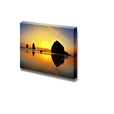 Canvas Prints Wall Art - Beautiful Scenery/Landscape Sunset in Canon Beach | Modern Wall Decor/Home Decoration Stretched Gallery Canvas Wrap Giclee Print & Ready to Hang - 16
