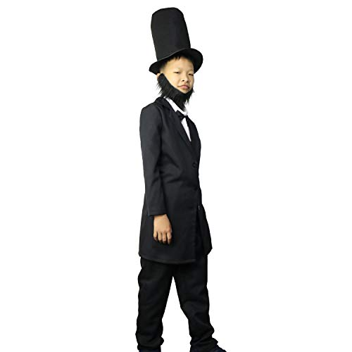 LarpGears Deluxe Abraham Lincoln Kids Halloween Costume President Patriotic Dress Up Black-S -