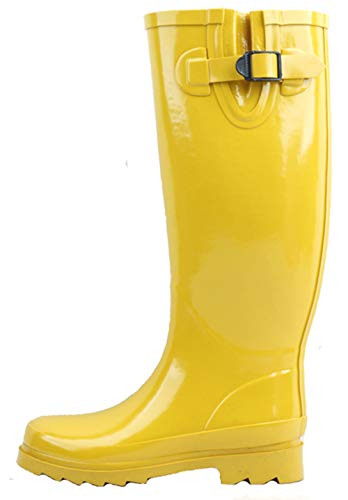 G4U Women's Rain Boots Multiple Styles Color Mid Calf Wellies Buckle Fashion Rubber Knee High Snow Shoes (8 B(M) US, Yellow) (Extra Wide Calf Boot)