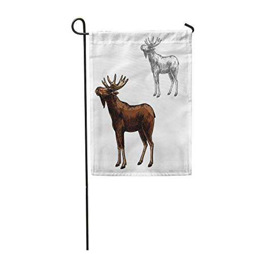 (Semtomn Garden Flag 28x40 Inches Print On Two Side Polyester Elk Wild Animal Sketch Side View Wapiti Mammal Deer Moose Species for Wildlife Home Yard Farm Fade Resistant Outdoor House Decor Flag)