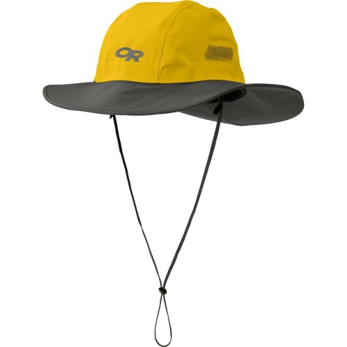 Outdoor Research Seattle Sombrero Rain Hat, 498-Yellow/Dark Grey, Large