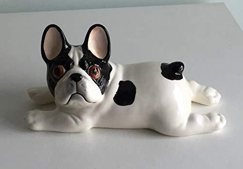 Lying French bulldog black and pied porcelain figurine, handmade, porcelain dog figurine ()