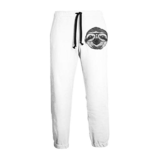 - AnangTeeHats for Mens Jogger Sweatpant Geometric Sloth.png Front Printing with Pockets XL White