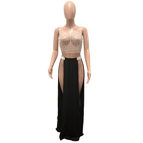 9f9118a5d280a Felicity Young Women s Sexy Sleeveless Round Neck Sheer See Through Mesh  Beaded Lace Crochet Crop Top