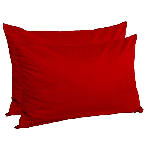 Om Bedding Collection Travel Pillowcase 12X16 500 Thread Count Egyptian Cotton Set of 2 Toddler Pillowcase with Zipper Closer Red Solid with 100% Egyptian Cotton (Toddler Travel 12X16 Red Solid)