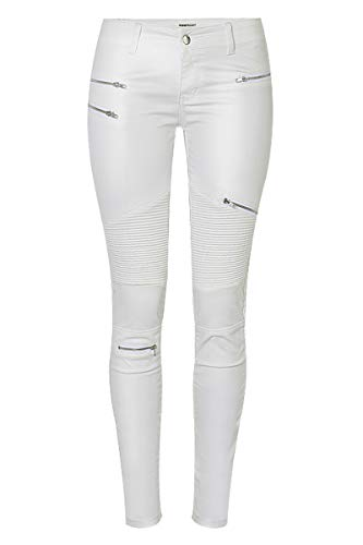 WEEKAN Women's Faux Leather Leggings Low Waisted Motorcycle Pants Stretchy White Tights