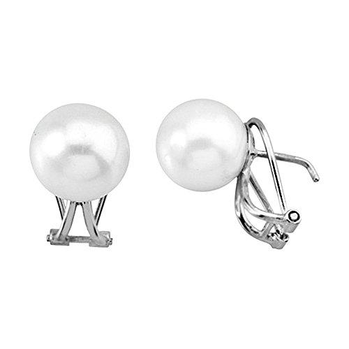 Boucled'oreille 18k or blanc perle de culture de 11.5mm. [AA5867]