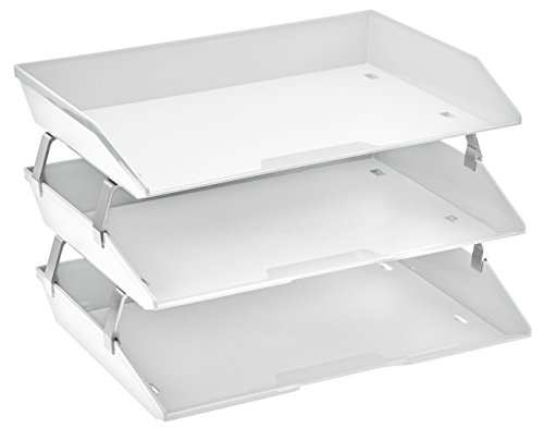 - Acrimet Facility 3 Tier Letter Tray Plastic Desktop File Organizer (White Color)