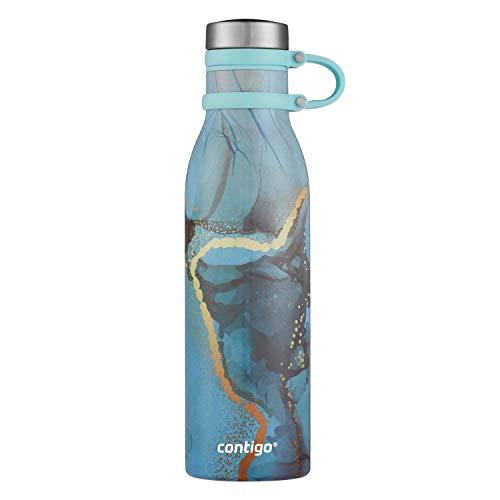 Botella de agua Contigo Couture THERMALOCK Matterhorn, acero inoxidable, negro mate, 20 onzas, flor translúcida