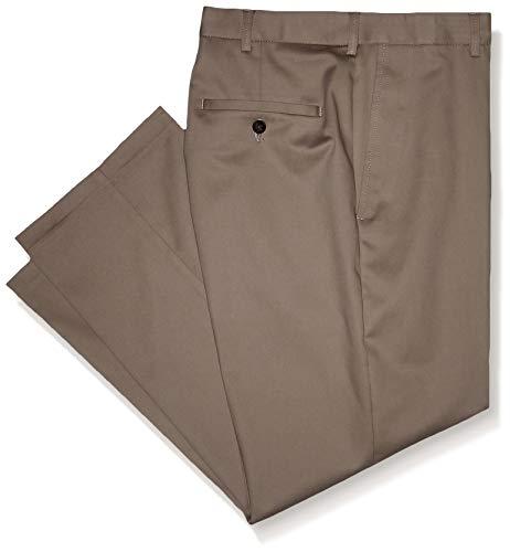 Haggar Men's Premium No Iron Classic Fit Expandable Waist Plain Front, Khaki, 36Wx28L ()