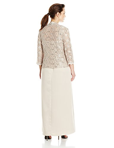 Alex Evenings Women's Plus Size Long A-Line Mock Jacket Dress with Open Jacket, Taupe, 18W