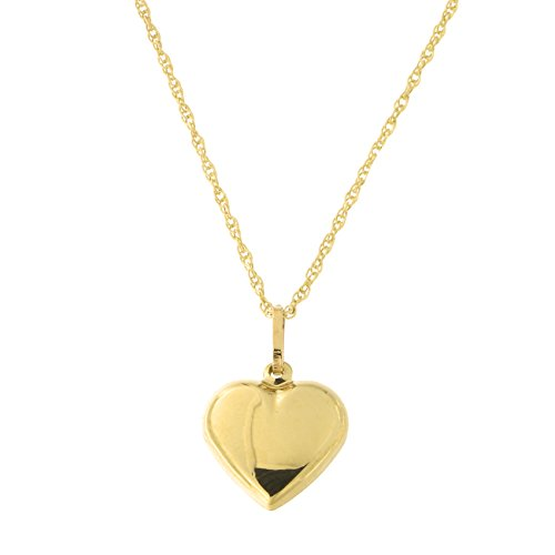 14k Yellow Gold Heart Pendant Necklace, 18 inches