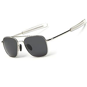 WPF Retro Polarized Sunglasses Aviator Sun Glasses for Men (As Picture, Silver White Frame Black Grey Lens)
