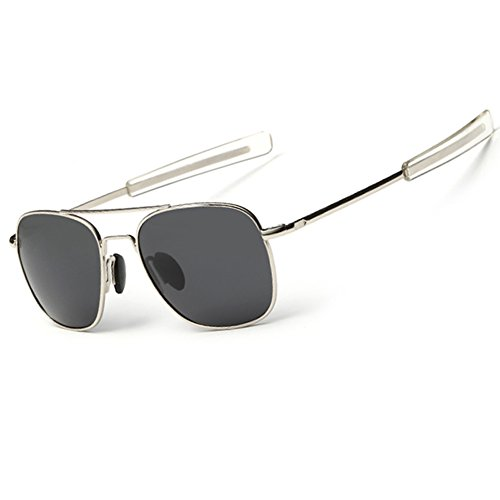 WPF Retro Polarized Sunglasses Aviator Sun Glasses for Men (As Picture, Silver White Frame Black Grey - Free Sun Ray Pictures
