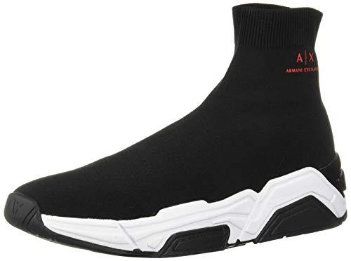 A|X Armani Exchange Men's Sock Boot Sneaker, Black, 11 M US
