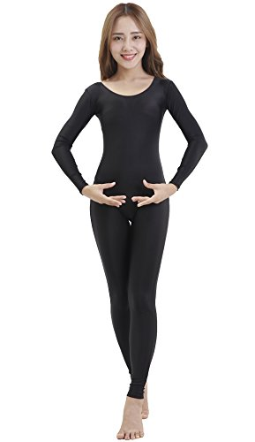 [Speerise Womens One Piece Unitard Bodysuit Long Sleeve Spandex Dance Costume, S, Black] (Lycra Dance Costumes)