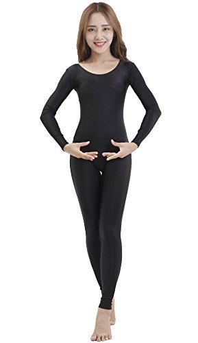 Price comparison product image Speerise Unitard Bodysuit Long Sleeve Spandex for Women Dance Costume, L, Black