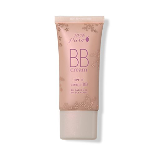 100% PURE BB Cream, Shade 30 Radiance, Full Coverage, All-In-One Primer, Concealer, Foundation Makeup, Shimmery, Dewy Finish, Vegan Makeup (Tan Shade w/Warm Golden Undertone) - 1 Fl Oz