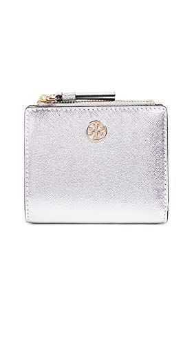Robinson Mini - Tory Burch Women's Robinson Metallic Mini Wallet, Silver, One Size