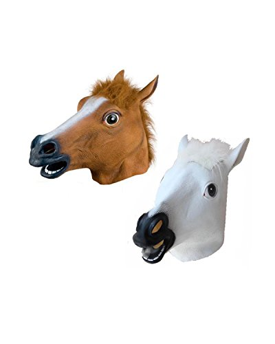 Brown Horse Head - Newbested Novelty Halloween Costume Party Latex Horse Head Mask, Mask Brown Horse and White Horse.