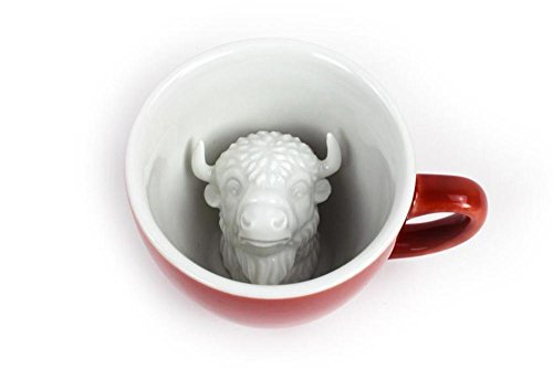 - CREATURE CUPS Bison Ceramic Cup (11 Ounce, Burnt Brick)| Hidden Animal Inside | Holiday and Birthday Gift for Coffee & Tea Lovers