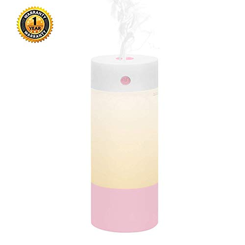 Sbogie Cool Mist Humidifier, 250mL Office Desk Quiet Humidifiers for Babies Bedroom, Night Light Mode, USB Powered and Whisper Quiet for Travel Home Car(Pink)