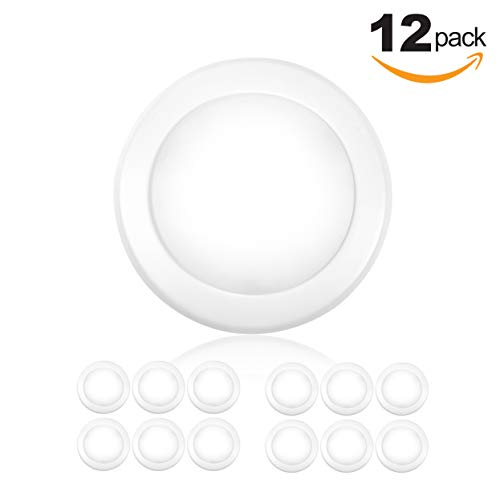 "Parmida (12 Pack) 5/6"" Dimmable LED Disk Light Flush Mount Ceiling Fixture, 15W (120W Replacement), 5000K (Day Light), Energy Star, Installs into Junction Box Or Recessed Can, 1050lm by Parmida LED Technologies"