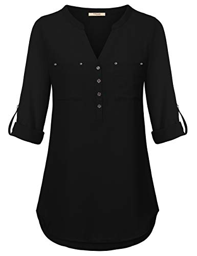 - Timeson Blouse Chiffon Plus Size,Women Tunics for Leggings, Junior Black Dressy Blouse Casual Loose High Low Shirts Long Sleeve Shirt V Neck Button Up Henley for Business Black Large