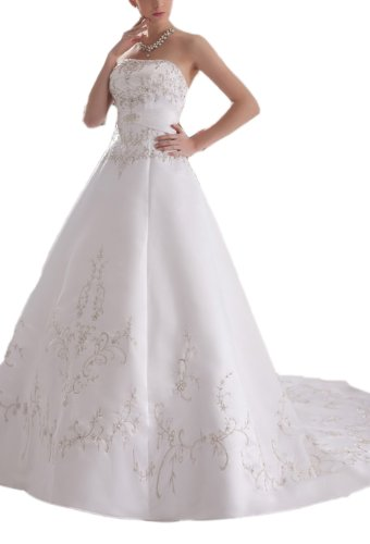 Albizia Women's Glorious A-line Strapless Chapel Appliques Wedding Dress by ALBIZIA