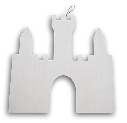 Castle Shaped Wood Cutout Plaque Sign - 11.5 x 11.5 -